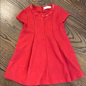 Red Zara Girls holiday dress, size 5